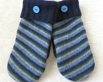 Repurposed Sweater Wool Mittens in Navy Blue, Forest Green and Blue, Eco-Friendly Felted Wool Mittens, Adult Size