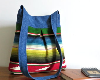 Bella Purse, Colorful Serape Stripes and Denim, Upcycled Handbag/Tote in Repurposed Textiles
