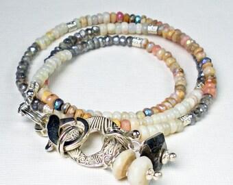 Opal Wrap Bracelet,  Fine Silver PMC, Australian Opal, Mystic Pink Peruvian Opal, Mystic Labradorite, 3 Wrap Bracelet, Gemstone Wrap- Sunset