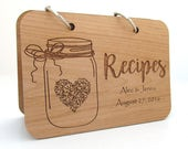 Mason Jar and Heart Wood Recipe Book - Real Wooden Book Covers