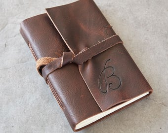 4x6 - Rugged Character - Leather Journal or Sketchbook - Cursive Initials Optional