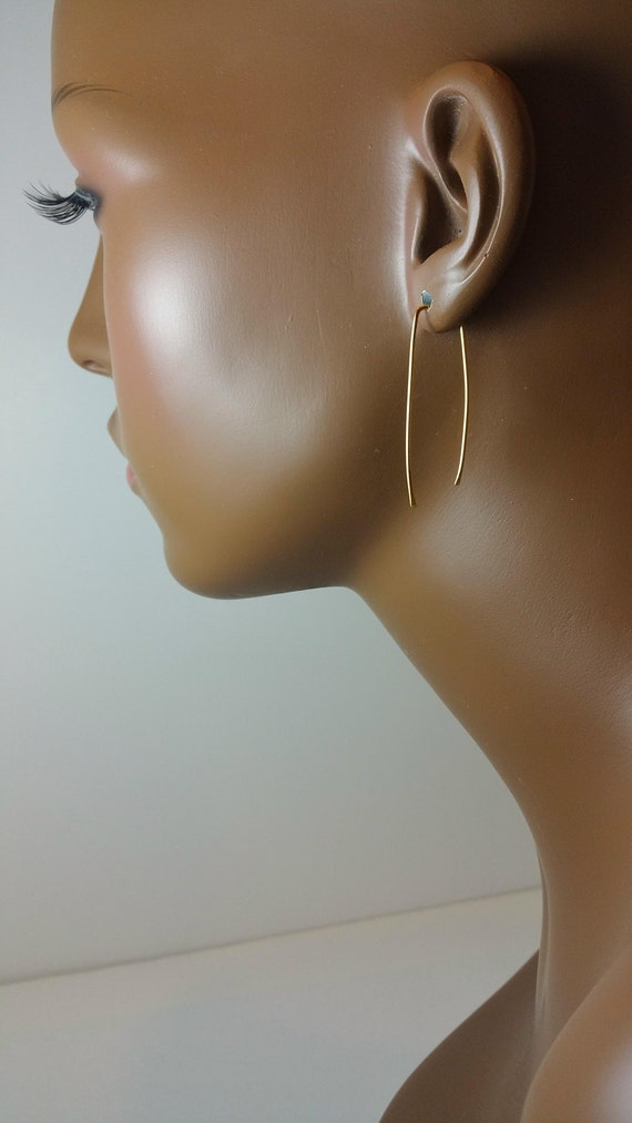 Gold tone hoop earrings 1.5, 2.5, 3 or 4 inch threader hammered square top open threader dangle 637