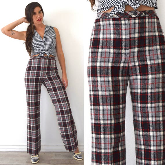 SUMMER SALE/ 30% off Vintage 70s 80s Jackfin High Waisted Black Grey Red and White Plaid High Waisted Wide Legged Wool Trousers