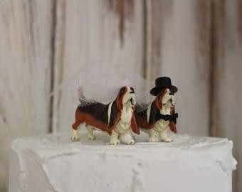 Dog Cake Topper, Dog Wedding Cake Topper, Basset Hound Animal Cake Topper, Dog Lover Cake Topper, Grooms Cake, Mans Best Friend Cake Topper
