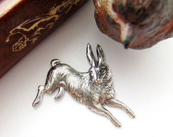 ANTIQUE SILVER * Vintage Rabbit Stamping ~ Jewelry Ornament Antique Silver Findings (CA-3035)
