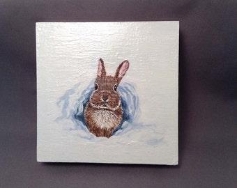 Original Brown Bunny Painting Acrylic 4 x 4