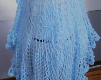 Ladies Crochet Shawl, Light Blue Spring, Summer, Fall Shawl. Wedding Shawl, Women,Teen, Daughter Crochet Shawl/Wrap by craftylittlekitten