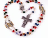Four Archangels Christmas Nativity Rosary Beads In Rainbow Cathedral Glass w Duc In Altum Crucifix by Unbreakable Rosaries