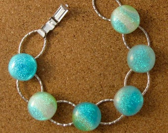 Dichroic Glass Bracelet - Fused Glass Jewelry - Blue Dichroic Bracelet - Link Bracelet - Chain Bracelet - Dichroic Jewelry