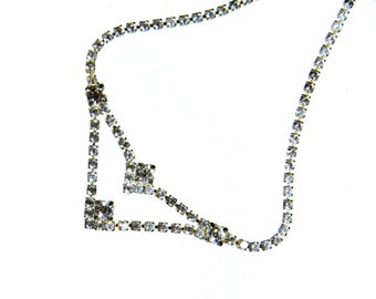 Deco Era, Rhinestone Necklace, Delicate and Thin, Great as Bridal/Wedding Jewelry, Clear Rhinestones, Feminine, Special Occasion, Sparkle