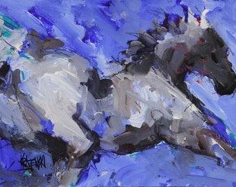 Gray Horse Running- Original Abstract Acrylic Painting 11x14