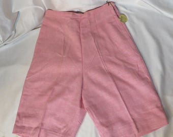 Vintage 50s Shorts Bermuda High Waist Side Candy Pink Metal Zipper Rockabilly VLV Pinup MCM New Old Stock