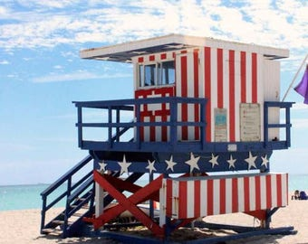 Patriotic 13th Street Lifeguard Tower of Miami Beach - Art Deco Beach Architecture - Original Colour Photograph by Suzanne MacCrone Rogers
