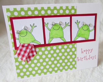 Handmade Greeting Card - Stampin' Up - FROGS - HoPPy BiRThDaY, happy birthday, friend, kids, girl, boy, love frogs, funny, cute