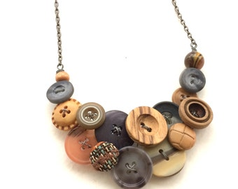 OOAK Funky Button Necklace in Gray and tan Brown - Mixed Media and Textures