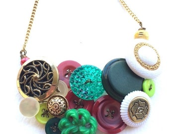 Holiday Jewelry Sale Chunky Red Green white and gold Christmas Holiday Vintage Button Statement Necklace