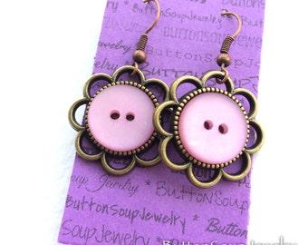 Funky Light Pink Vintage Button Earrings