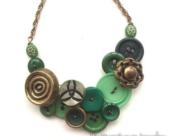 Irish Green and Gold Necklace made from Vintage Buttons