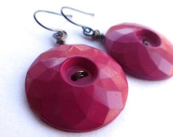 Summer Sale Pink Flambe Geometric Faceted Vintage Button Earrings
