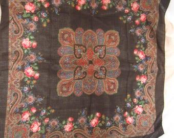 Black Floral Scarf, Vintage Scarf, Head Scarf, Neck Scarf