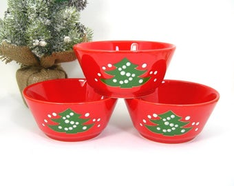 Waechtersbach 3 Christmas Tree Coupe Soup Bowls, Red and Green, Vintage 1980s West Germany Pottery, Candy Dish, Cereal Fruit Bowl