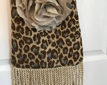 Gypsy & Funky Cheetah Flower Sling with Rope Fringe