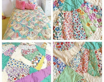 Sweet Dreams...  Vintage Handmade Twin Sized Fan Quilt Bedspread Feedsack Fabrics