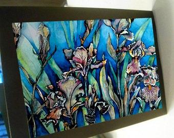 greeting card floral iris garden
