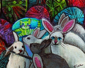original art  aceo drawing cat bunny disguise Easter rabbit painting eggs