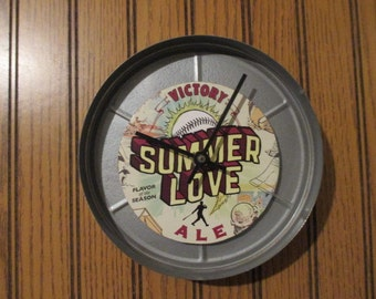 "Victory ""Summer Love"" Clock - Repurposed and Upcycled Film Canister - Free Shipping"