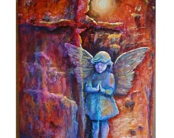 "Original 18""x24""acrylic on canvas ""Praying Angel"""