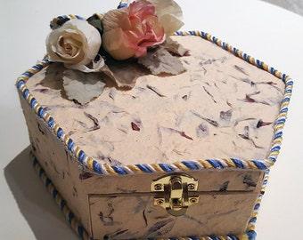 Box, Keepsake, Textured Decorated, jewelry box, home decor, Octogon Shape box, gift box
