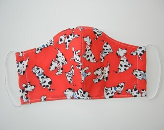 Fabric Surgical Face Mask with Puppies on Red