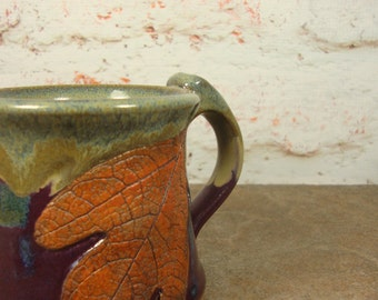 Nature Lover Gift - Sassafras Leaf Treehugger Mug - Stoneware