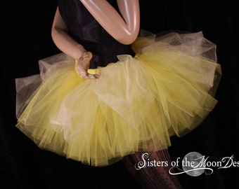 Belle tulle tutu skirt yellow gold ball gown inspired dance costume princess party fairytale wedding bachelorette - You Choose Size - SOTMD