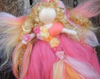 Needle felted Peach Curly Girl Fairy -  Waldorf inspired  By Rebecca Varon