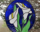 Stained Glass Calla Lilies Oval Suncatcher