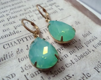 Mint Green Crystal Teardrop Earrings Brass Jewelry Holiday Jewelry Bridesmaid Jewelry Gifts For Her Gifts Under 30 Vintage Style
