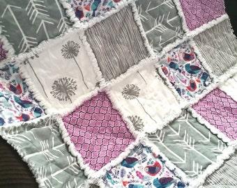 Dandelion Rag Quilt, Girls, Bird, Arrow, Baby, Toddler Nursery, Blanket Flannel Purple Lavender and Gray Ready to Ship