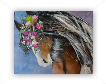 Cute Horse and Fairy decorated with hearts and Flowers, Whimsical ,Original Painting on Canvas