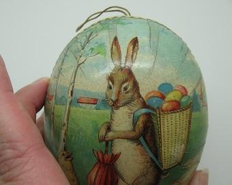 Vintage Easter Paper Mache Egg HALF Only Mr. Easter Bunny