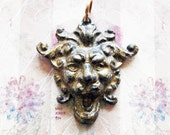 Screaming Gargoyle Escutcheon Pendant Amulet Antique Brass Jester Joker Medieval Figural Refashioned Hardware Jewelry