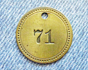 Painted Number 71 Brass Tag Motel Room Check Id Retro Antique Metal Keychain Key Ring Fob Token