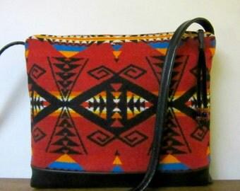 Wool Cross Body Bag Purse Shoulder Bag Black Leather Southwest Print from Pendleton Oregon Southwest Style
