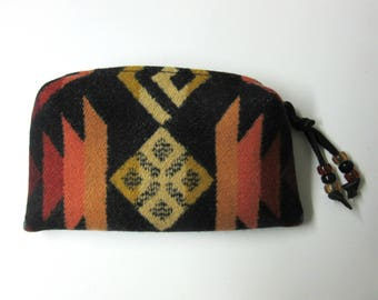 Wool Zippered Pouch Coin Purse Change Purse Accessory Organizer Southwest Wool from Pendleton Oregon