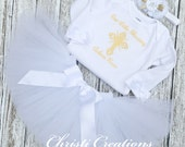 Baby Girl Baptism Outfit - Christening Tutu Outfit - Baptism Tutu - Christening Outfit - Girl Baptism Outfit - White and Gold