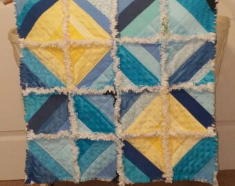 Ashlawnfarms, Rag Quilt, String Blocks, Flannel Chenille Minky, Yellow Blue Pink