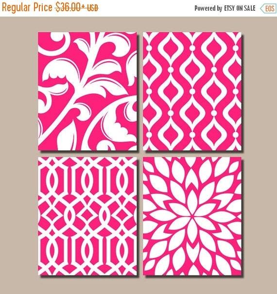 Diy Bathroom Remodel Books : Hot pink bedroom wall art trellis pattern swirl by trmdesign