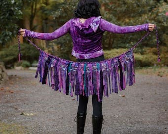 Sulis Festival Skirt - Hippie Skirt - Pixie Skirt - Gypsy Skirt - Womens Tutu - Wrap Skirt - Up-cycled Skirt - Intergalactic Apparel