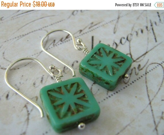 On Sale Turquoise Earrings, Tile Earrings, Etched Glass Bead Earrings, Sterling Silver Earrings